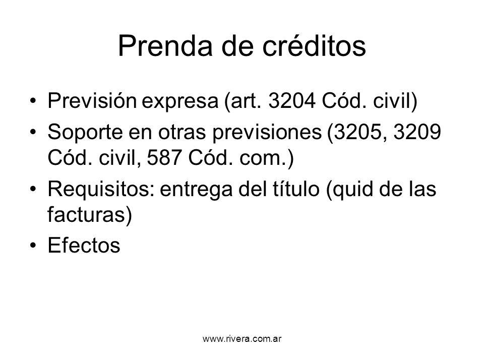 Prenda de créditos Previsión expresa (art. 3204 Cód. civil)