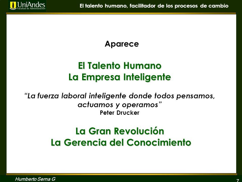 Aparece El Talento Humano La Empresa Inteligente La fuerza laboral inteligente donde todos pensamos, actuamos y operamos Peter Drucker La Gran Revolución La Gerencia del Conocimiento