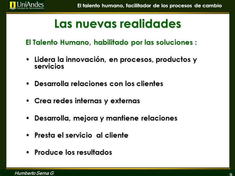 Las nuevas realidadesEl Talento Humano, habilitado por las soluciones : Lidera la innovación, en procesos, productos y servicios.