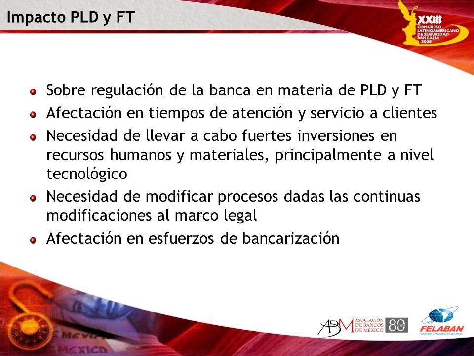Impacto PLD y FT Sobre regulación de la banca en materia de PLD y FT. Afectación en tiempos de atención y servicio a clientes.