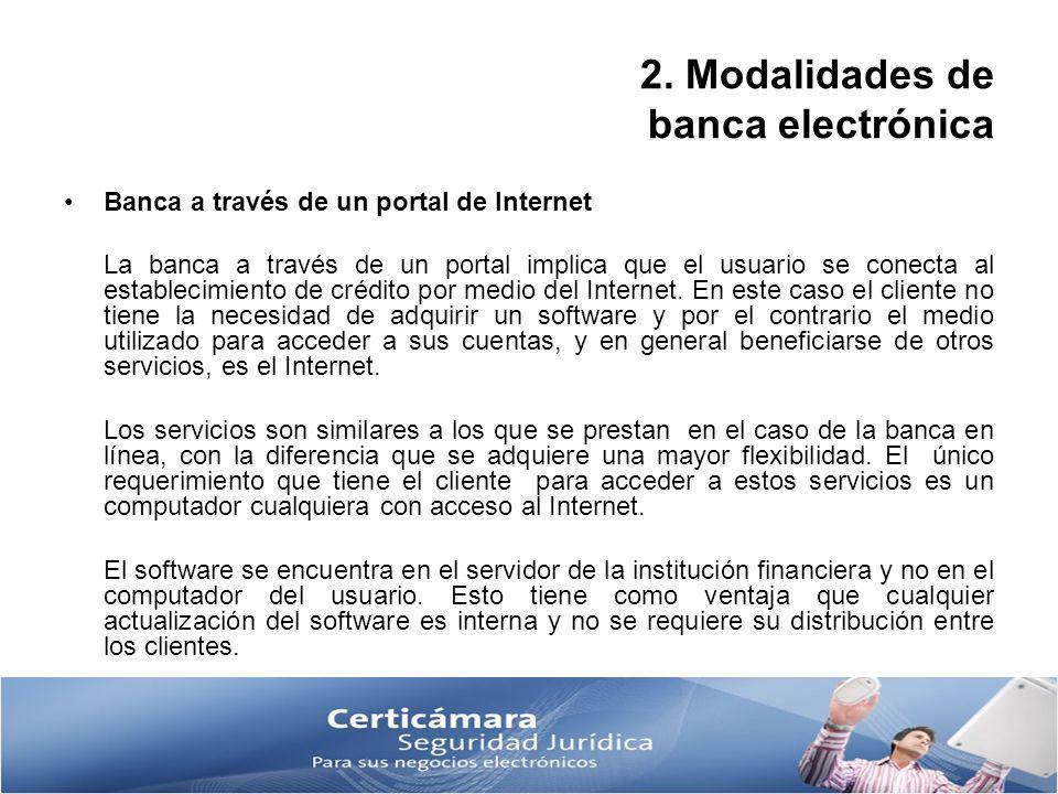 2. Modalidades de banca electrónica