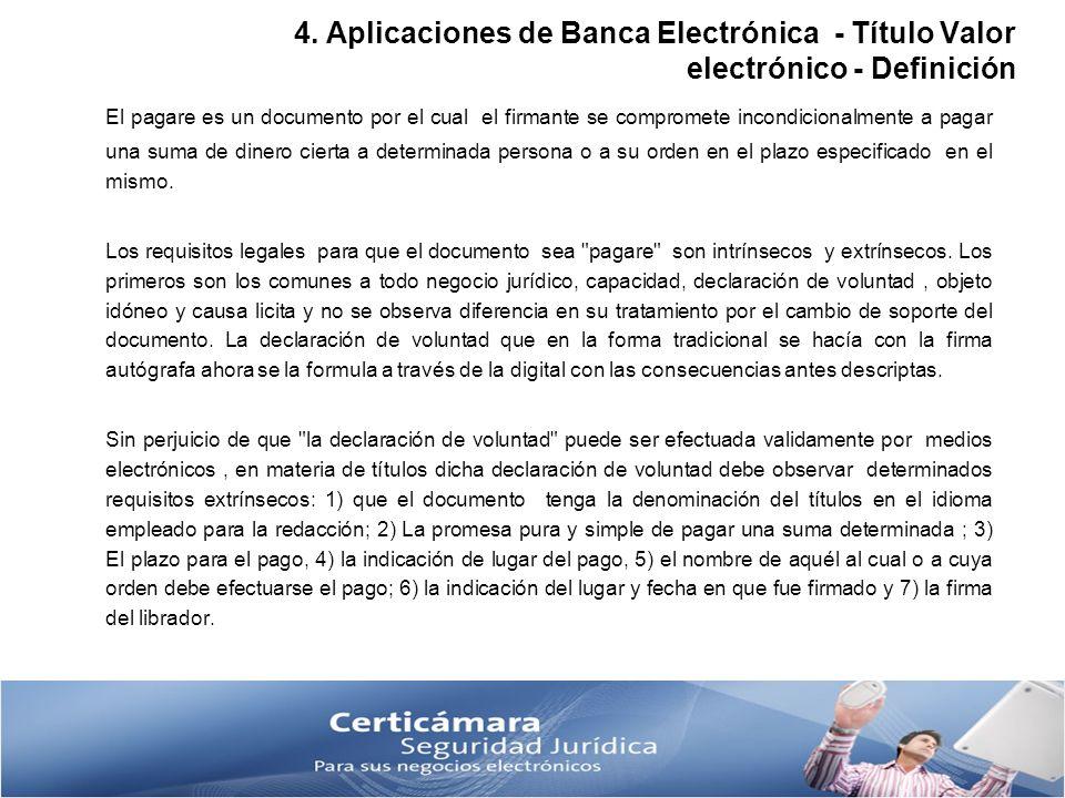 4. Aplicaciones de Banca Electrónica - Título Valor electrónico - Definición