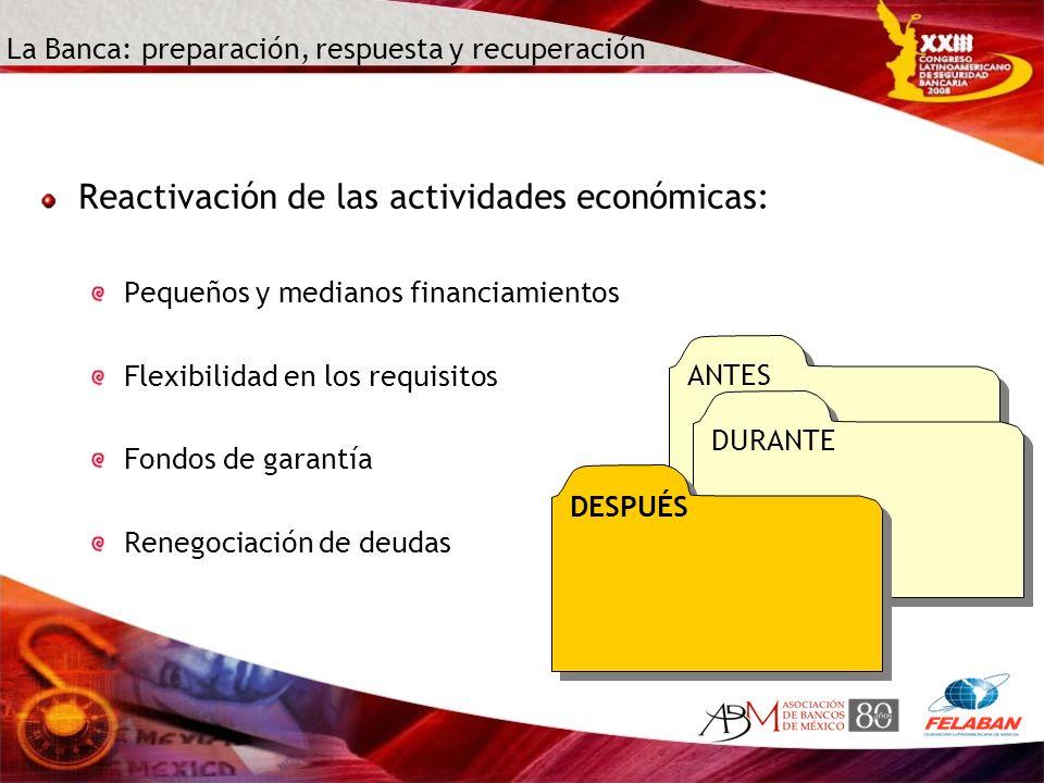 La Banca: preparación, respuesta y recuperación