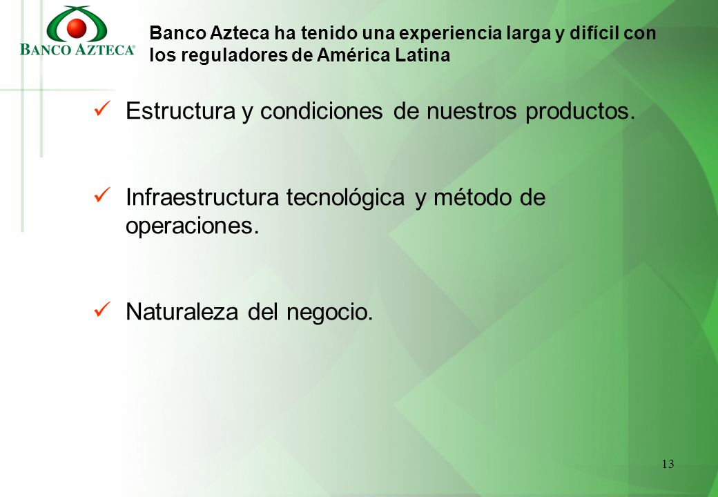 Estructura y condiciones de nuestros productos.