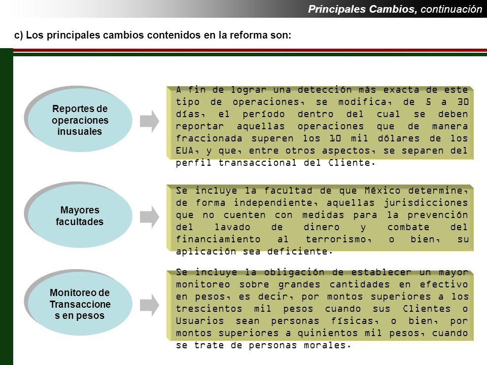 Reportes de operaciones inusuales Monitoreo de Transacciones en pesos