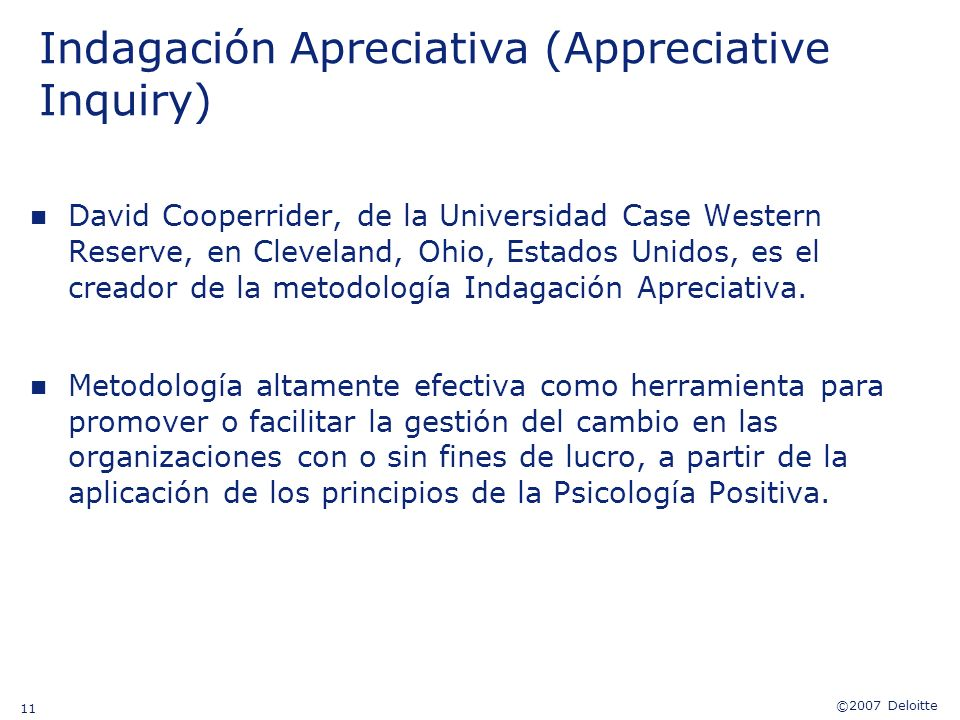 Indagación Apreciativa (Appreciative Inquiry)