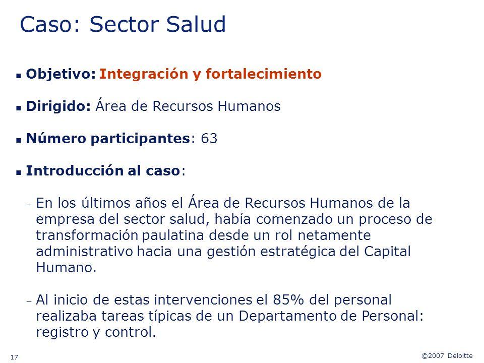 Caso: Sector Salud Objetivo: Integración y fortalecimiento