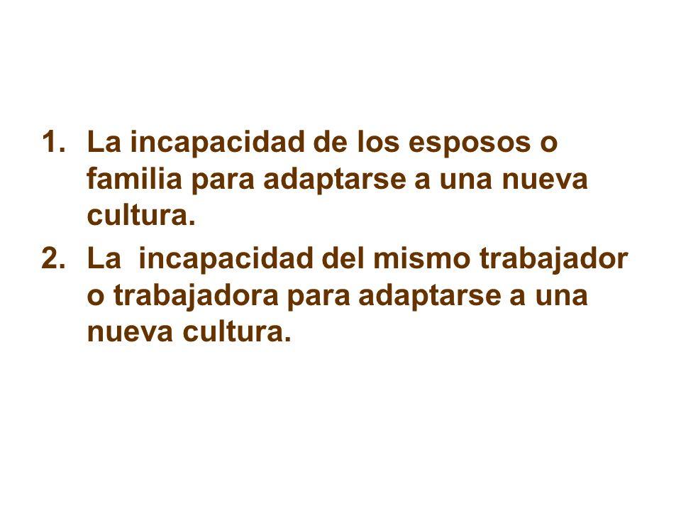 La incapacidad de los esposos o familia para adaptarse a una nueva cultura.
