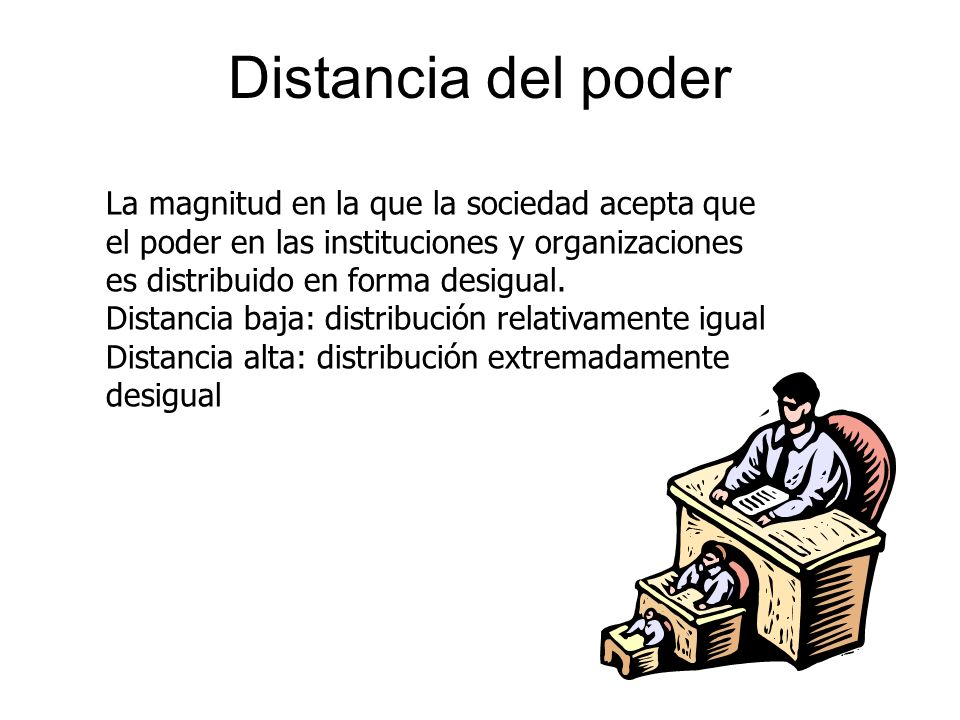 Distancia del poderLa magnitud en la que la sociedad acepta que el poder en las instituciones y organizaciones es distribuido en forma desigual.
