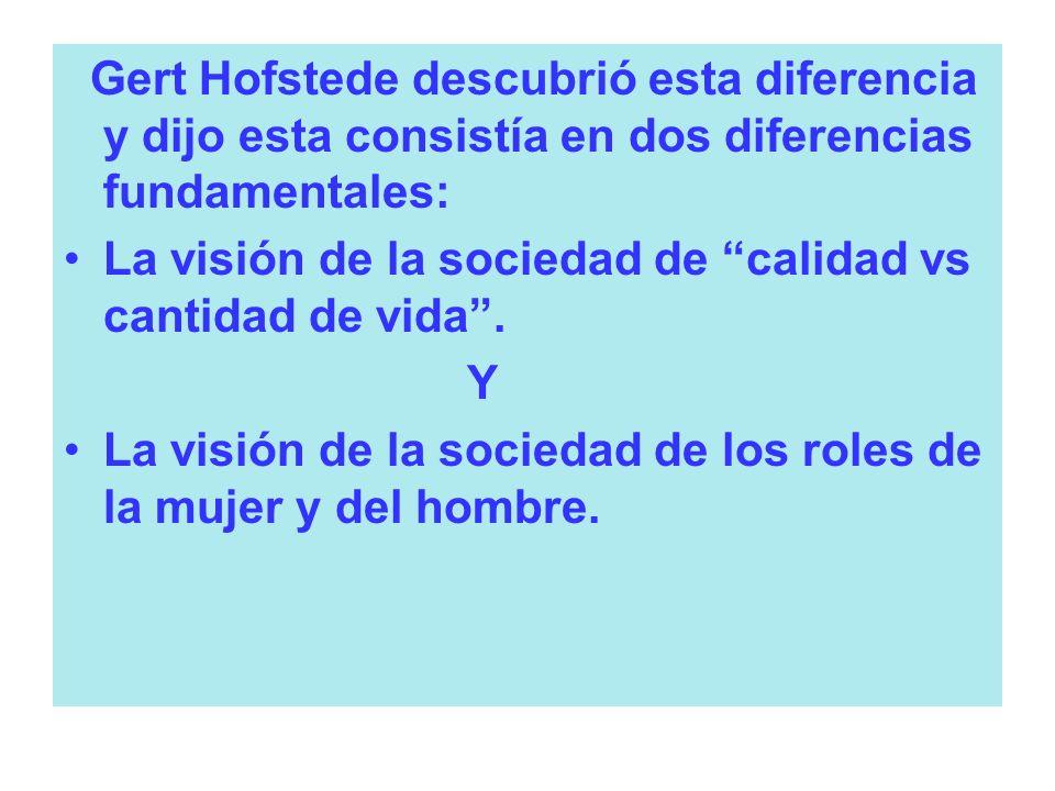 Gert Hofstede descubrió esta diferencia y dijo esta consistía en dos diferencias fundamentales: