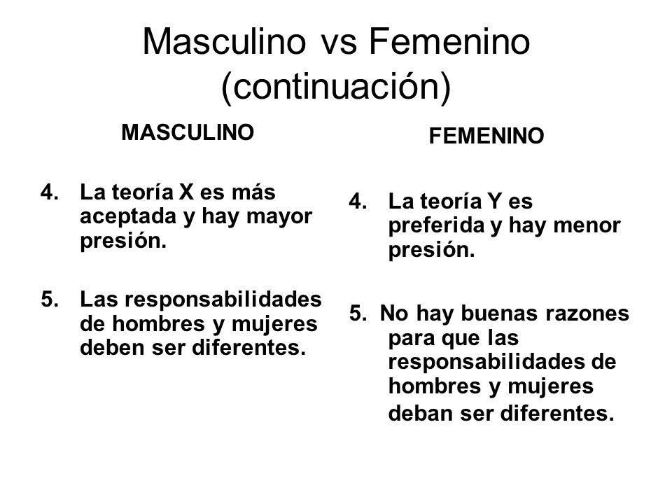 Masculino vs Femenino (continuación)