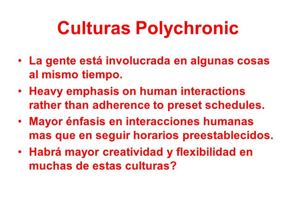 Culturas PolychronicLa gente está involucrada en algunas cosas al mismo tiempo.