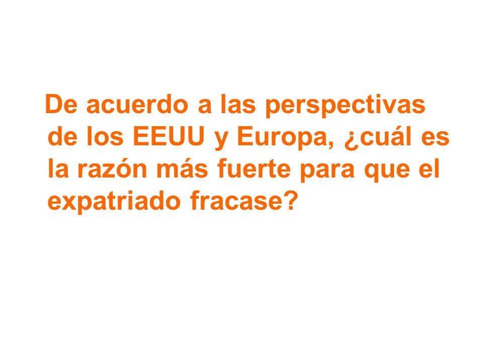 De acuerdo a las perspectivas de los EEUU y Europa, ¿cuál es la razón más fuerte para que el expatriado fracase