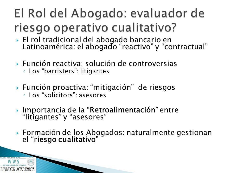 El Rol del Abogado: evaluador de riesgo operativo cualitativo