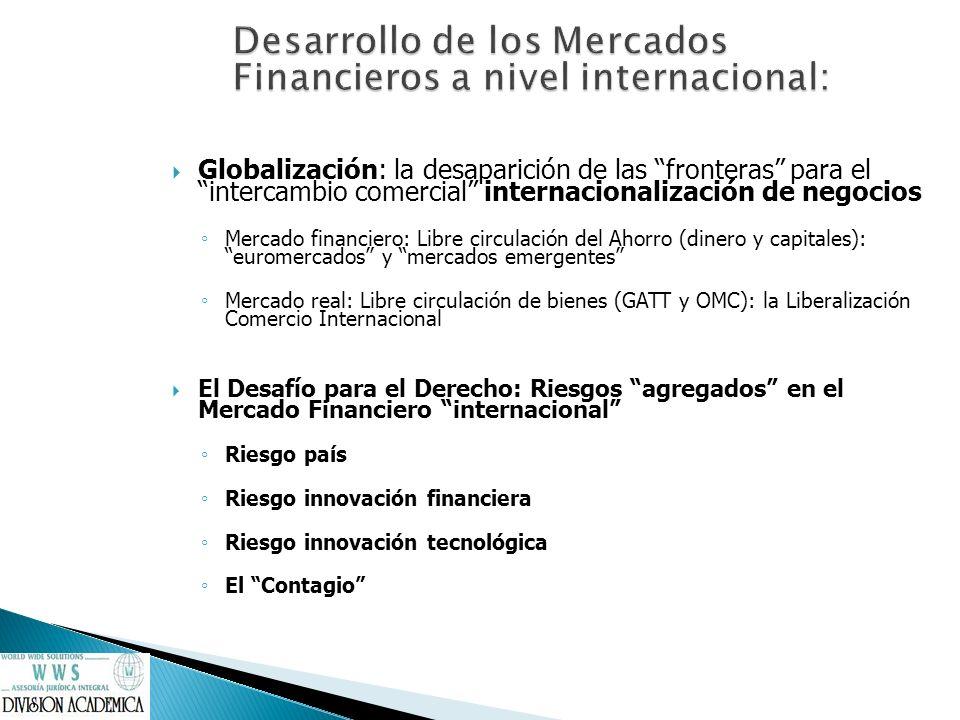 Desarrollo de los Mercados Financieros a nivel internacional: