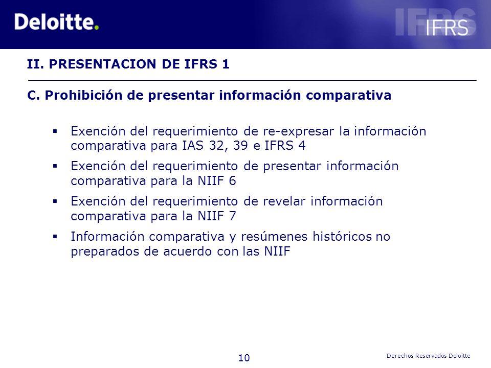 II. PRESENTACION DE IFRS 1