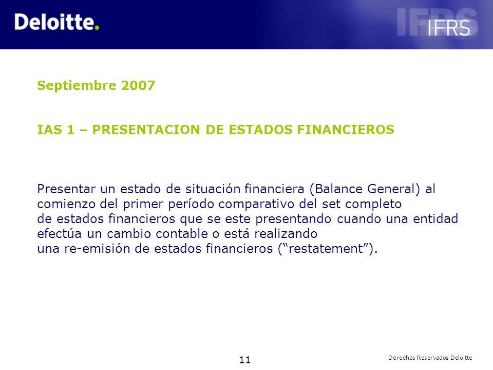 Septiembre 2007 IAS 1 – PRESENTACION DE ESTADOS FINANCIEROS.