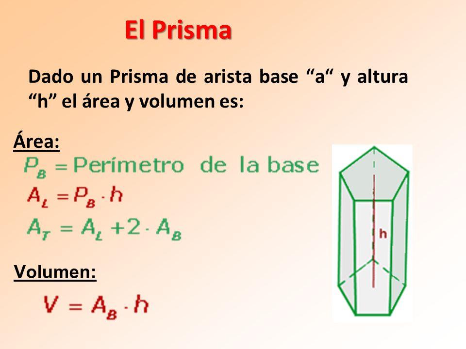 El Prisma Dado un Prisma de arista base a y altura h el área y volumen es: Área: Volumen:
