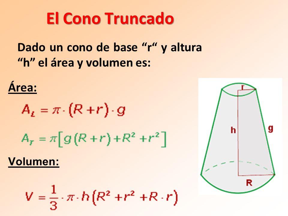 El Cono Truncado Dado un cono de base r y altura h el área y volumen es: Área: Volumen: