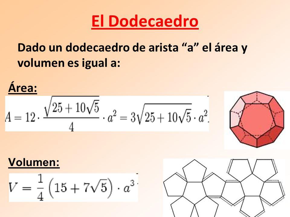 El Dodecaedro Dado un dodecaedro de arista a el área y volumen es igual a: Área: Volumen: