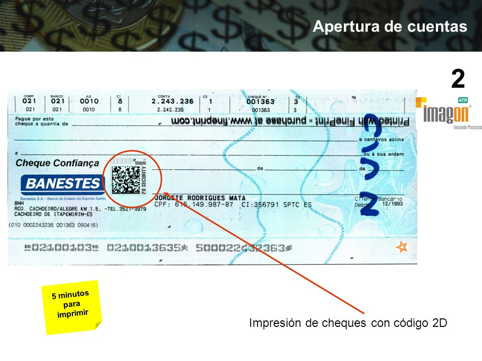 Impresión de cheques con código 2D