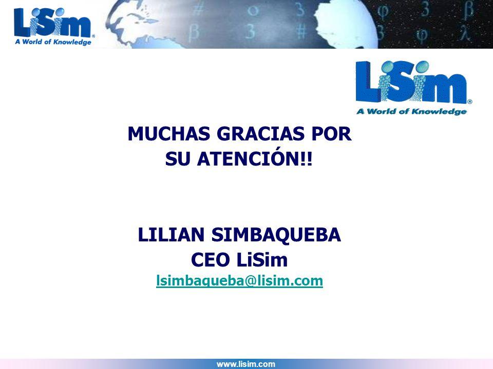 MUCHAS GRACIAS POR SU ATENCIÓN!! LILIAN SIMBAQUEBA CEO LiSim
