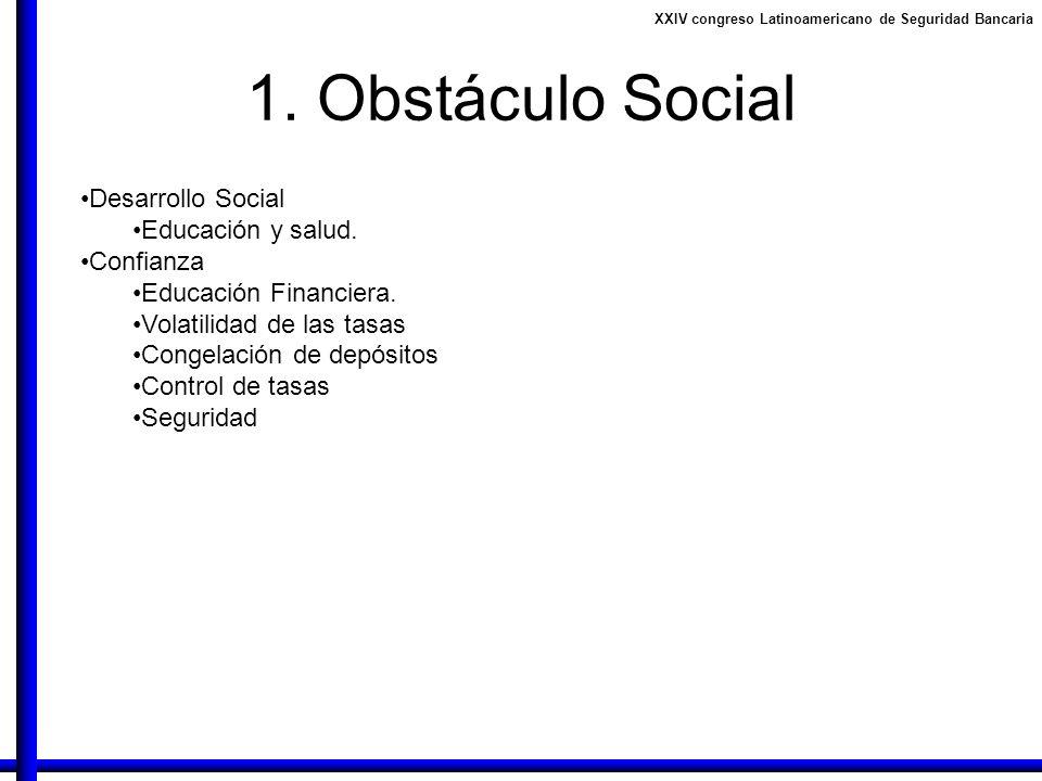 1. Obstáculo Social Desarrollo Social Educación y salud. Confianza