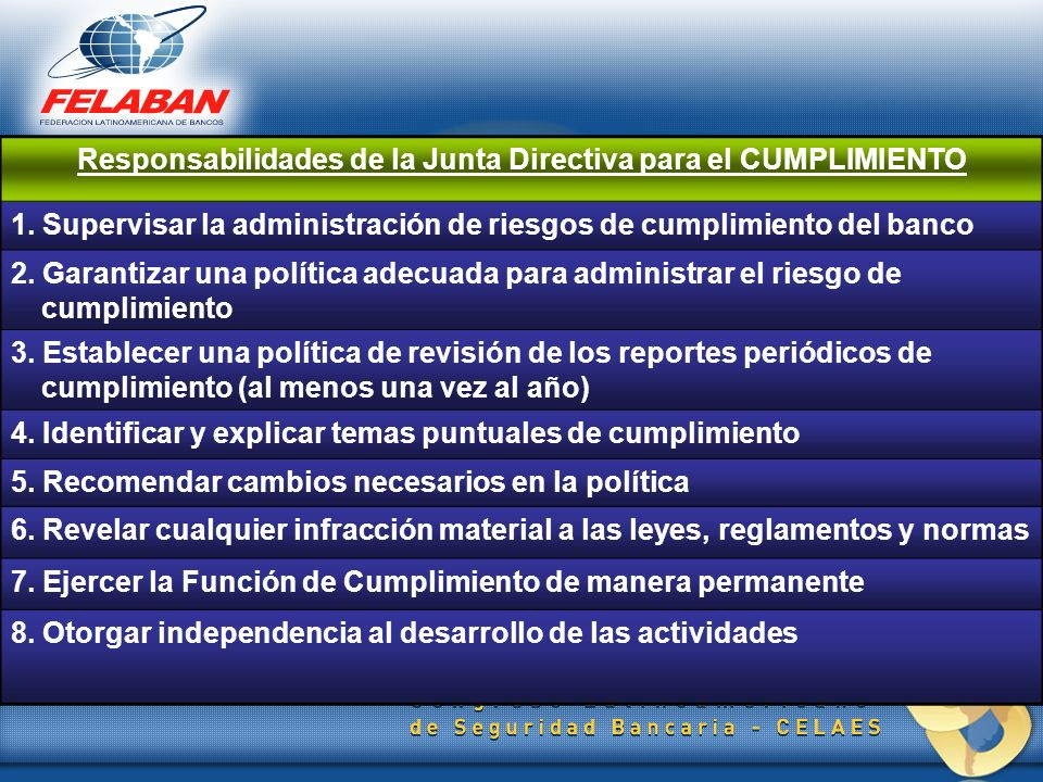 Responsabilidades de la Junta Directiva para el CUMPLIMIENTO