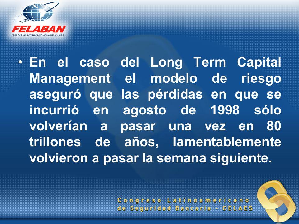 En el caso del Long Term Capital Management el modelo de riesgo aseguró que las pérdidas en que se incurrió en agosto de 1998 sólo volverían a pasar una vez en 80 trillones de años, lamentablemente volvieron a pasar la semana siguiente.