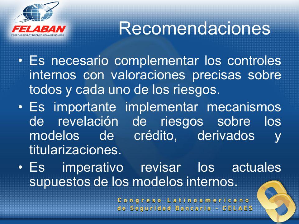 Recomendaciones Es necesario complementar los controles internos con valoraciones precisas sobre todos y cada uno de los riesgos.