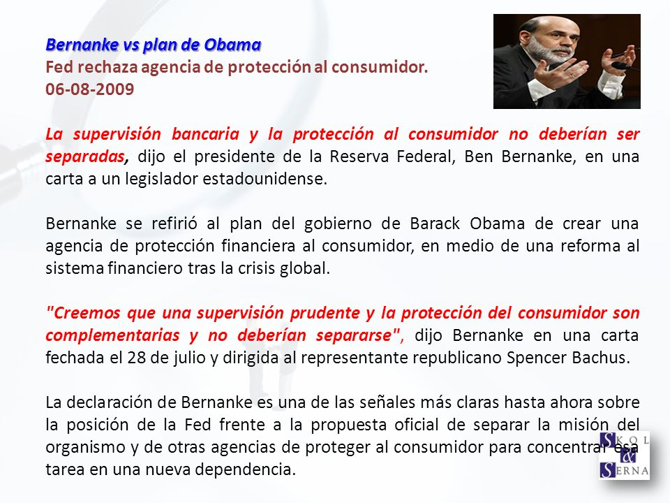 Bernanke vs plan de Obama