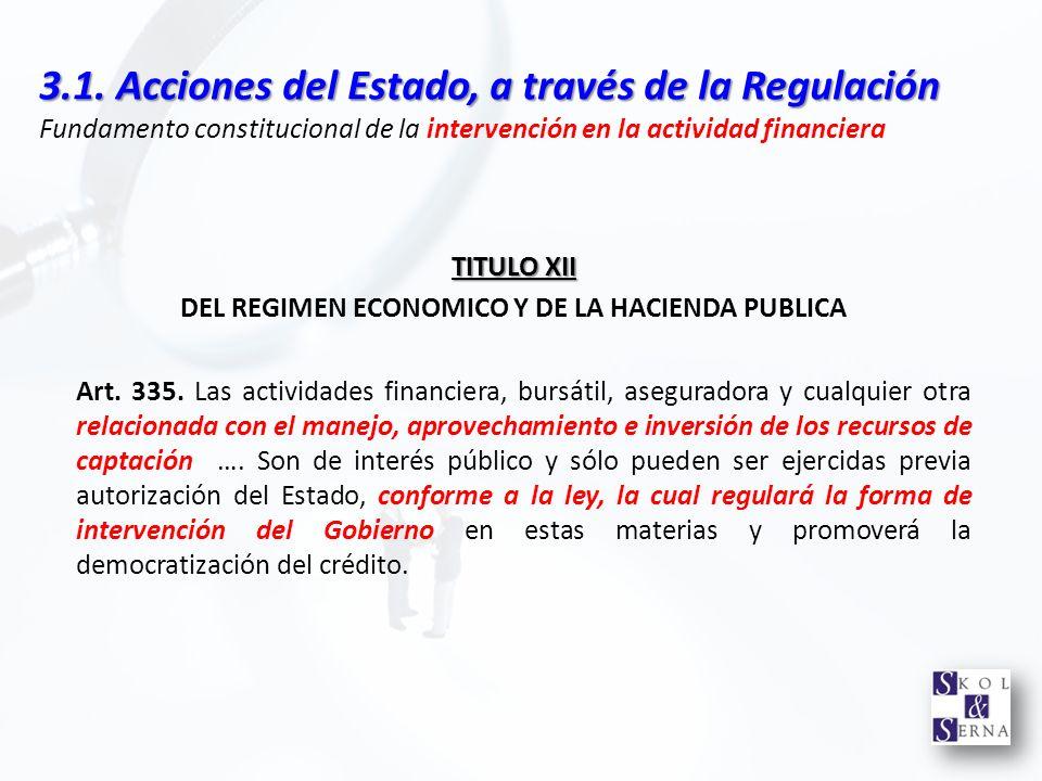 DEL REGIMEN ECONOMICO Y DE LA HACIENDA PUBLICA