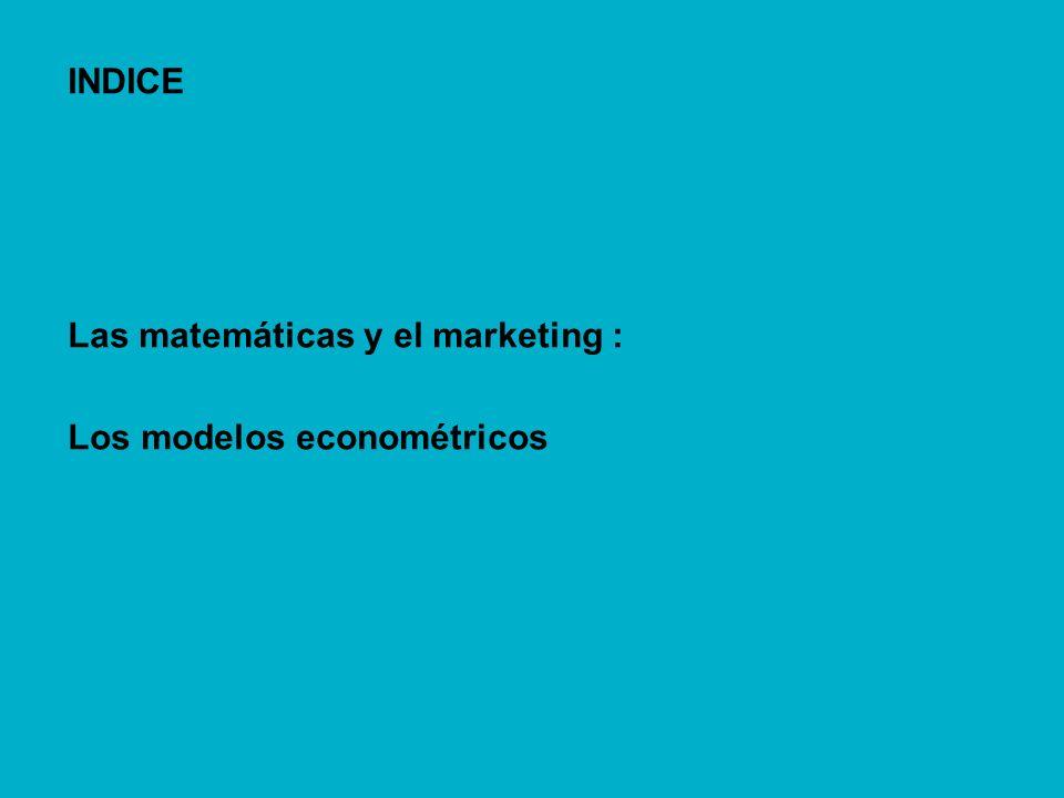 INDICE Las matemáticas y el marketing : Los modelos econométricos