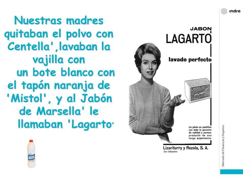 Nuestras madres quitaban el polvo con Centella ,lavaban la vajilla con un bote blanco con el tapón naranja de Mistol , y al Jabón de Marsella le llamaban Lagarto
