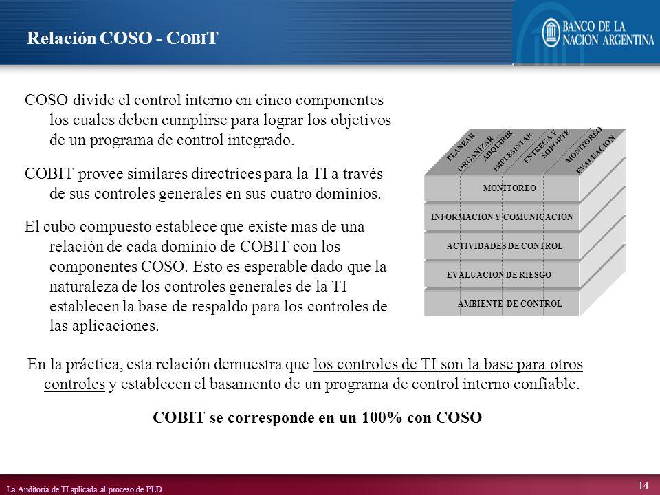 COBIT se corresponde en un 100% con COSO