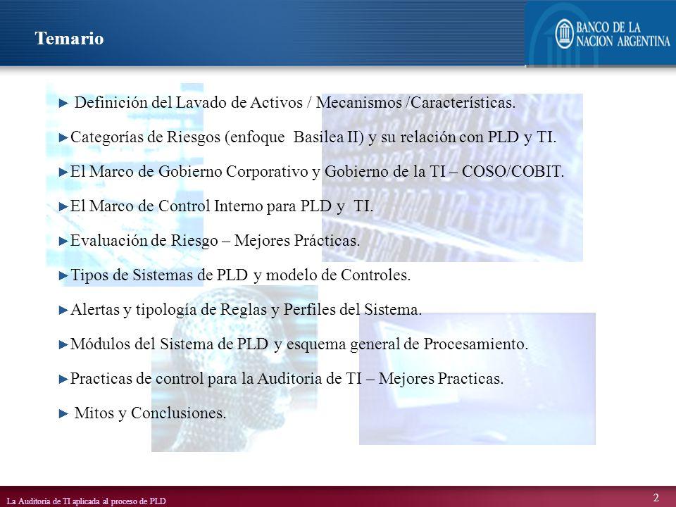 Temario Definición del Lavado de Activos / Mecanismos /Características. Categorías de Riesgos (enfoque Basilea II) y su relación con PLD y TI.