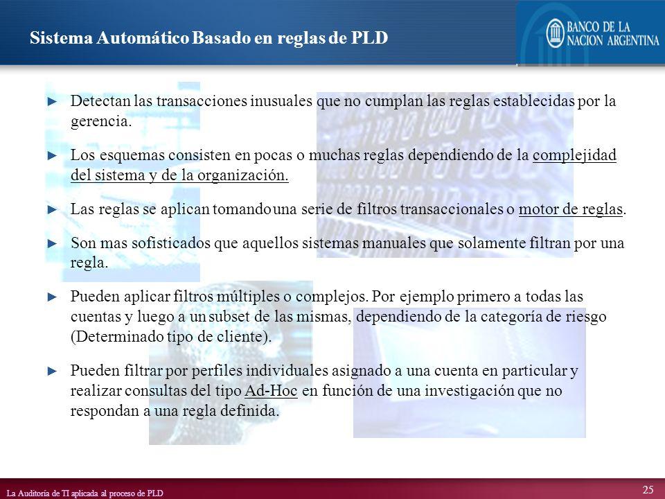 Sistema Automático Basado en reglas de PLD