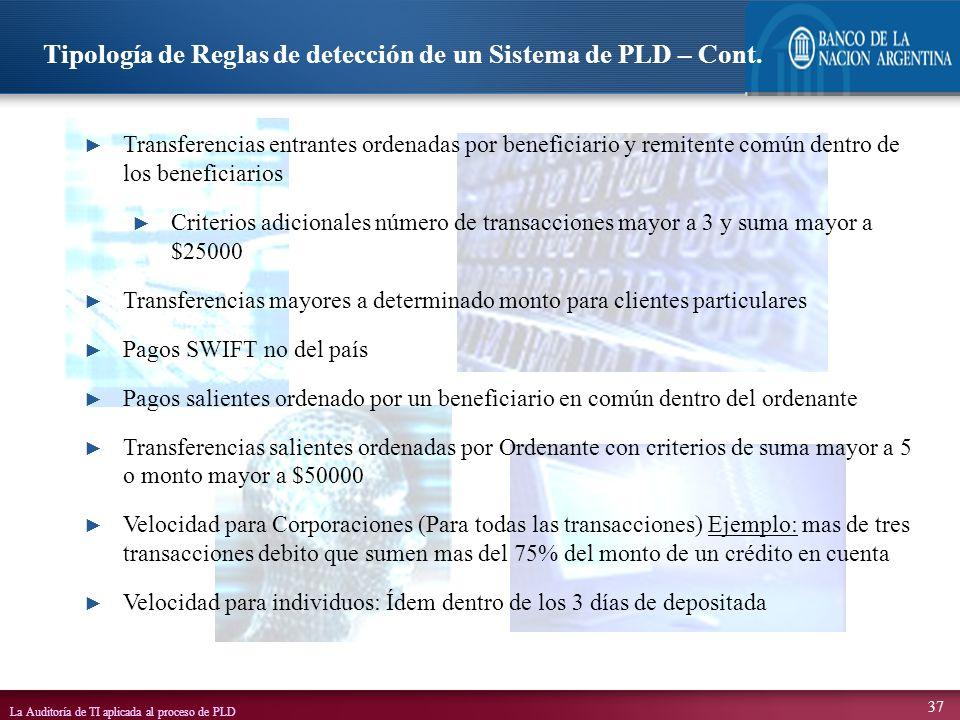 Tipología de Reglas de detección de un Sistema de PLD – Cont.