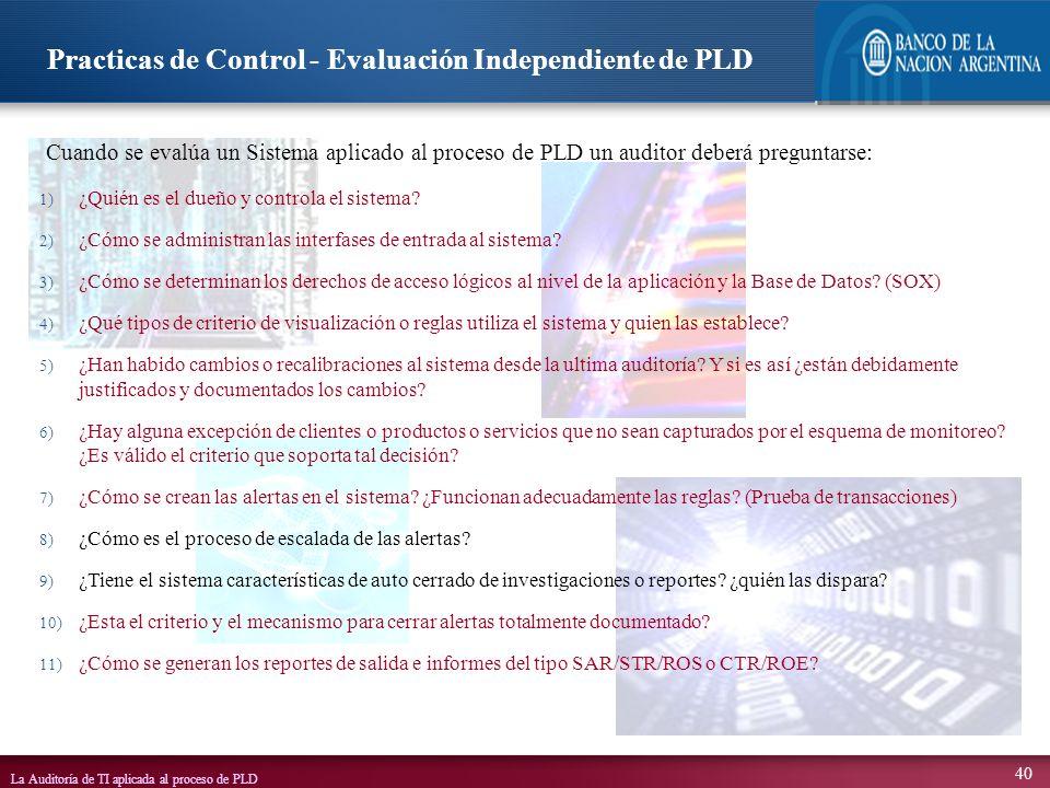 Practicas de Control - Evaluación Independiente de PLD