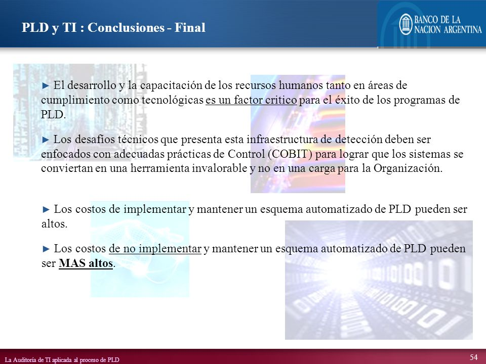 PLD y TI : Conclusiones - Final