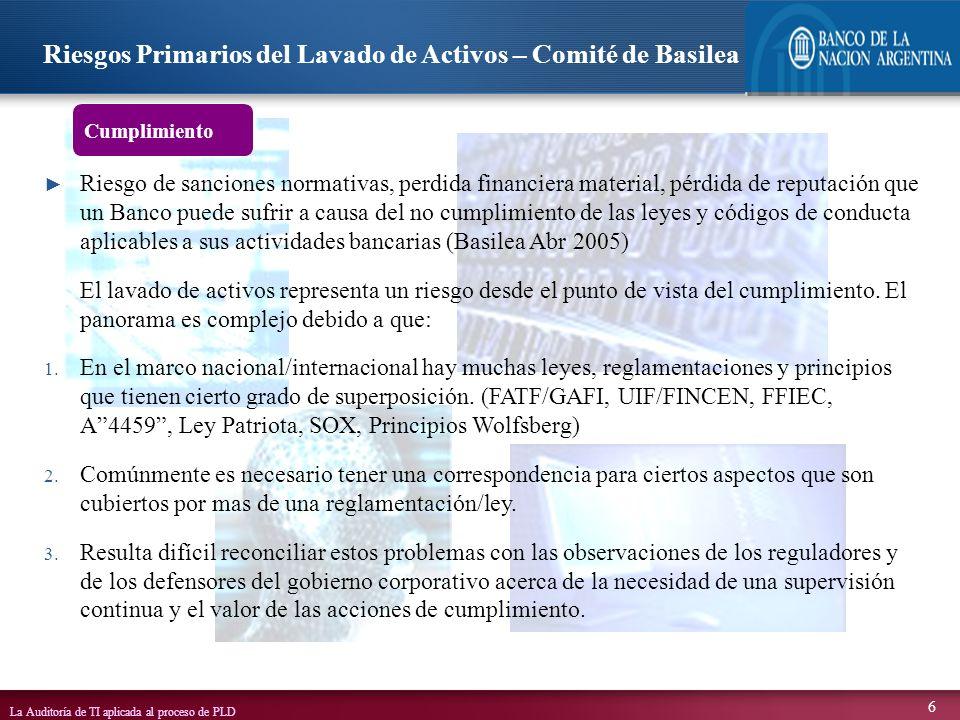 Riesgos Primarios del Lavado de Activos – Comité de Basilea