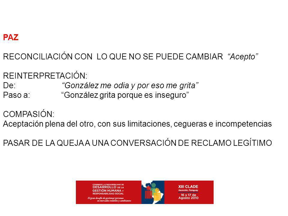 PAZ RECONCILIACIÓN CON LO QUE NO SE PUEDE CAMBIAR Acepto REINTERPRETACIÓN: De: González me odia y por eso me grita