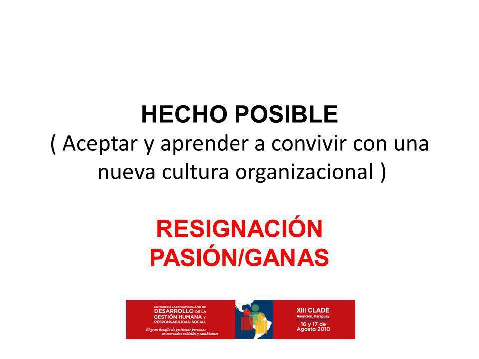 HECHO POSIBLE RESIGNACIÓN PASIÓN/GANAS