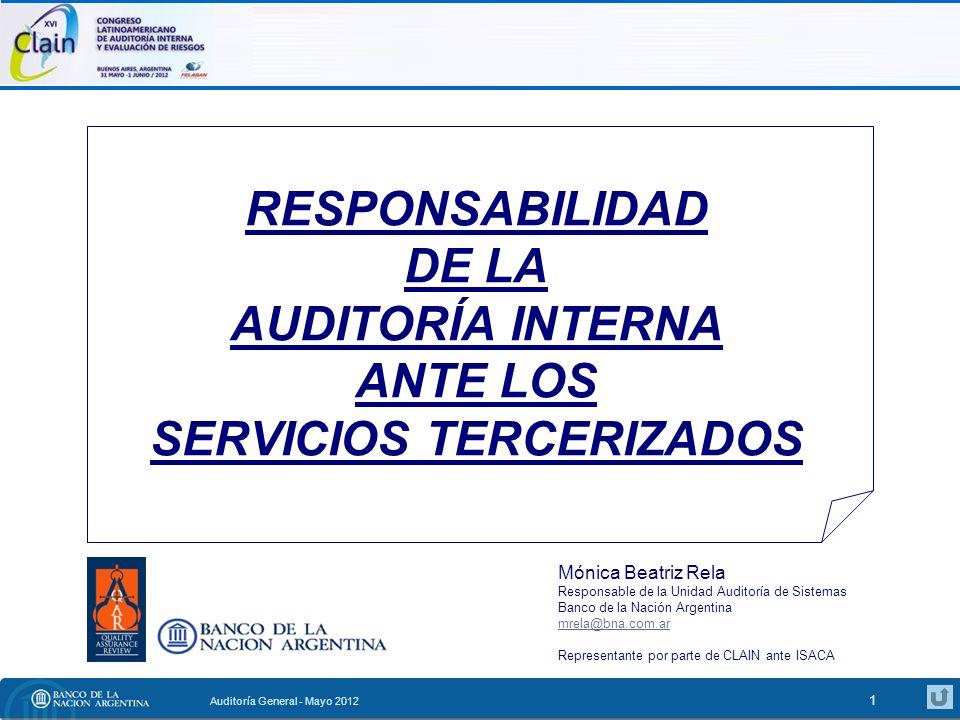 RESPONSABILIDAD DE LA AUDITORÍA INTERNA ANTE LOS SERVICIOS TERCERIZADOS