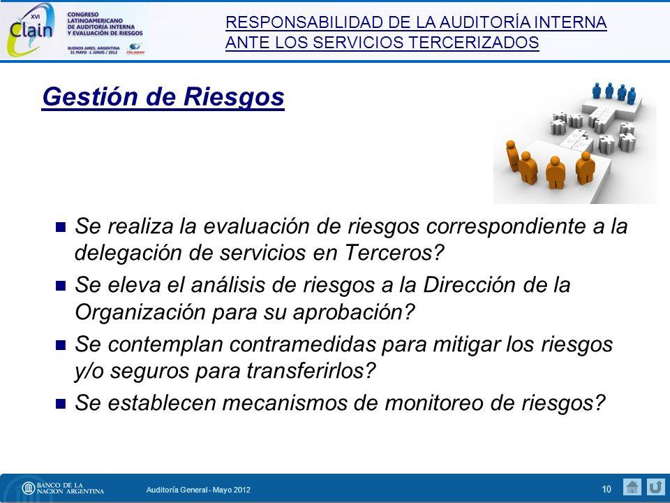 Gestión de Riesgos Se realiza la evaluación de riesgos correspondiente a la delegación de servicios en Terceros