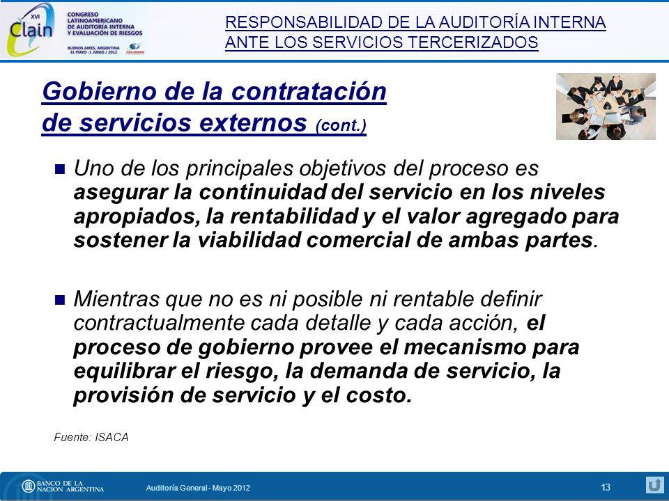 Gobierno de la contratación de servicios externos (cont.)