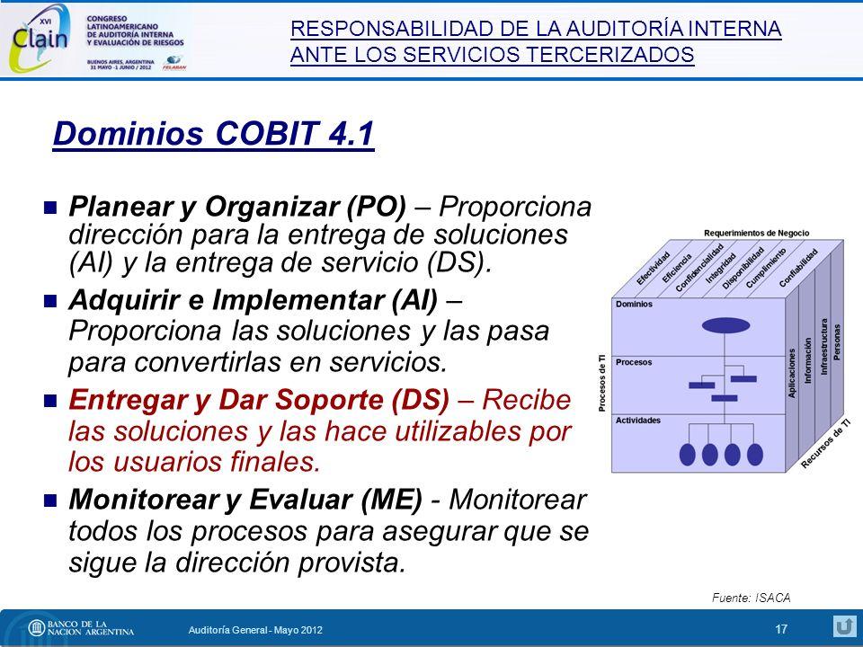 Dominios COBIT 4.1 Planear y Organizar (PO) – Proporciona dirección para la entrega de soluciones (AI) y la entrega de servicio (DS).