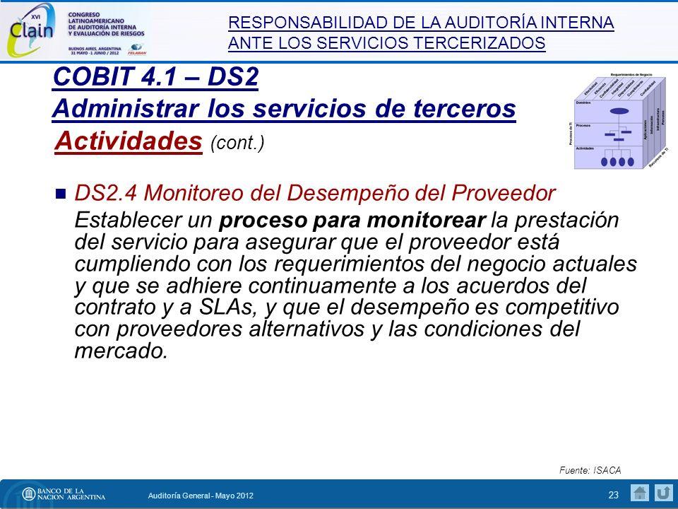 COBIT 4.1 – DS2 Administrar los servicios de terceros