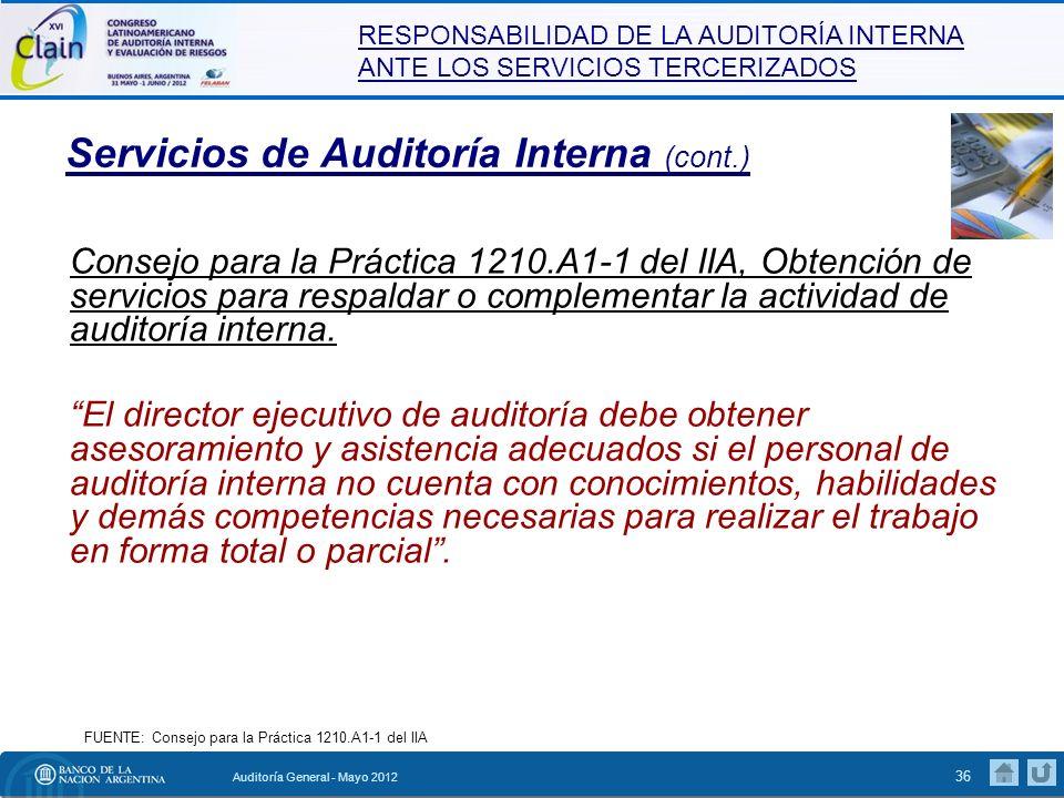 Servicios de Auditoría Interna (cont.)