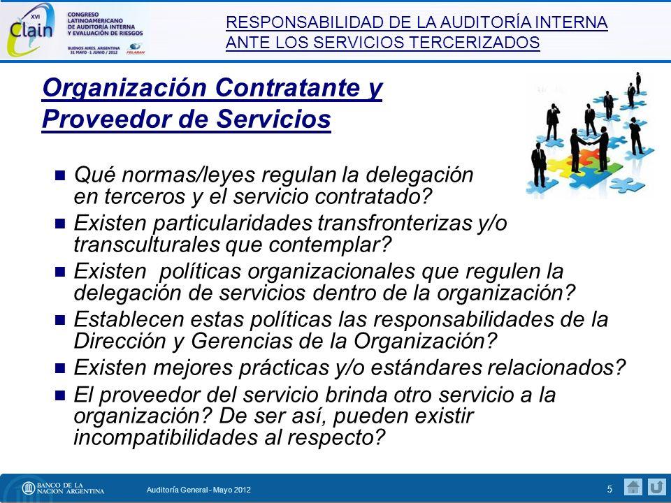 Organización Contratante y Proveedor de Servicios